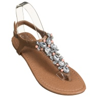 Ladies Jewel Toe Post Sandals - Nude