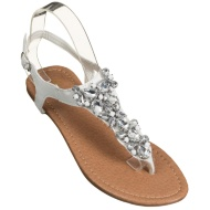 Ladies Jewel Toe Post Sandals - White