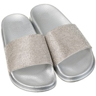 Ladies Jeweled Sliders - Silver