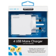 Optimum 4 Port USB Mains Charger With Fast Charging