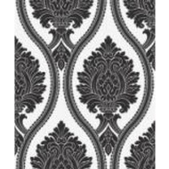 Arthouse Corona Damask Wallpaper - Black/White