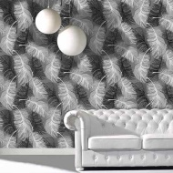 Coloroll Feather Motif Wallpaper - Black