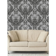 Debona Medina Damask Wallpaper - Black