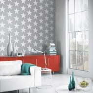 Arthouse Starry Night Glitter Wallpaper - Silver