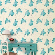 Crown Flourish Azure Motif Wallpaper - Teal