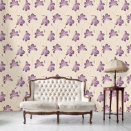 Crown Flourish Floral Motif Wallpaper - Plum