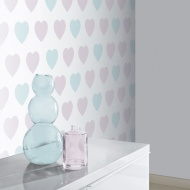 Arthouse Sweetheart Glitter Wallpaper - Lilac/Teal