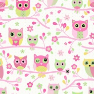 Debona Owls Wallpaper - Pink