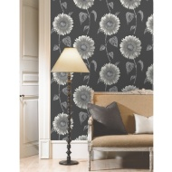 Sunflower Motif Wallpaper - Silver