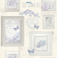 Fresco Vintage Frames Wallpaper - Cream/Blue