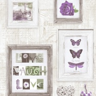 Muriva Live, Laugh, Love Wallpaper - Purple