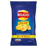 Walkers Cheese & Onion Crisps 5pk
