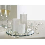 Wedding Candle Set with Mirror Plate 4pc