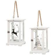 Printed Glass & Wooden Christmas Lantern