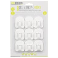 Self-Adhesive Hooks 9pk - White