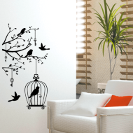 Jewelled Silhouette Wall Sticker - Bird Cage