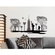 Jewelled Silhouette Wall Sticker - New York
