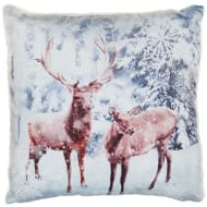Glitter Winter Animals Cushion - Stag