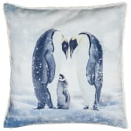 Glitter Winter Animals Cushion - Penguin