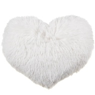 Sophia Shaggy Heart Cushion - Cream