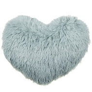 Sophia Shaggy Heart Cushion - Duck Egg