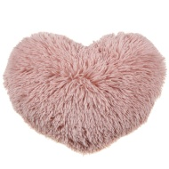 Sophia Shaggy Heart Cushion - Pink