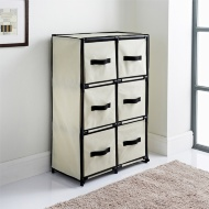 Canvas 6 Drawer Unit - Beige