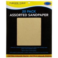 Turner & Gray Assorted Sandpaper 20pk