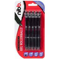 NIBB Retractable Gel Pens 5pk - Black