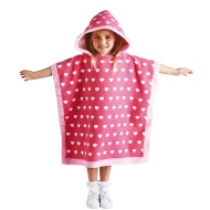 Hooded Poncho - Pink Heart