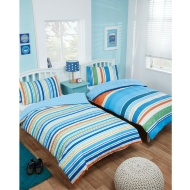 Boys Single Duvet Set Twin Pack - Thomas Stripe