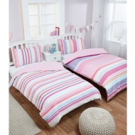 Girls Single Duvet Set Twin Pack - Bella Candy Stripe