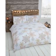 Snowflake Brushed Cotton Duvet Set Double