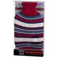 Knitted Design Hot Water Bottle - Hearts