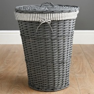 Wicker Laundry Hamper - Grey Stripes