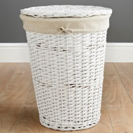 Wicker Laundry Hamper - White Spots