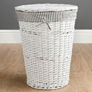 Wicker Laundry Hamper - White Stripes