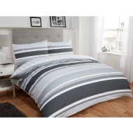 Tribeca Stripe Double Duvet Set Twin Pack - Mono