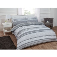 Textured Stripe Double Duvet Set Twin Pack - Grey