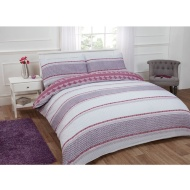 Textured Stripe Double Duvet Set Twin Pack - Purple