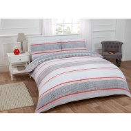 Textured Stripe Double Duvet Set Twin Pack - Red