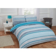 Textured Stripe Double Duvet Set Twin Pack - Teal