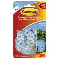 Command Medium Hooks Clear 2pk