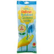 Deluxe Rubber Gloves 2pk - Blue