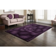 Plum Floral Hand Carved Rug 110 x 160cm