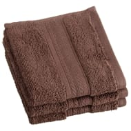 Signature Zero Twist Face Cloth 3pk - Espresso