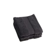 Signature Zero Twist Face Cloth 3pk - Charcoal