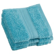 Signature Zero Twist Face Cloth 3pk - Aqua