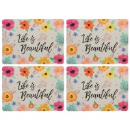 Table Placemats 4pk - Life is Beautiful