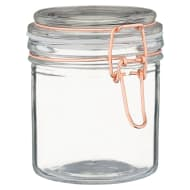 Small Glass Clip Lock Storage Jar - Copper